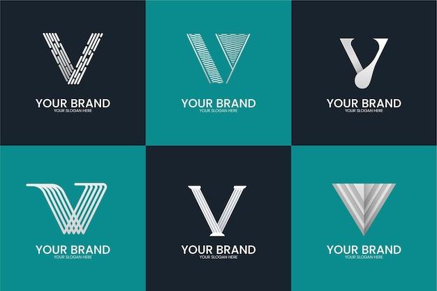 Estilo de coleção do logotipo da letra v Vetor grátis