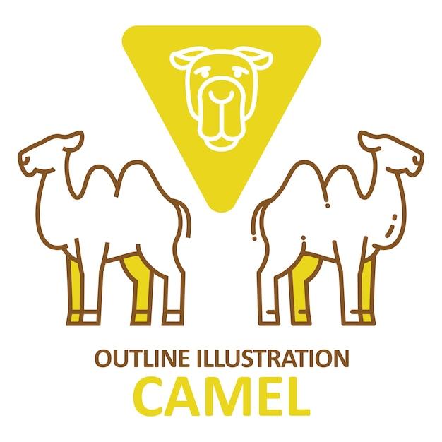 Estilo de contorno de camelo. Vetor Premium