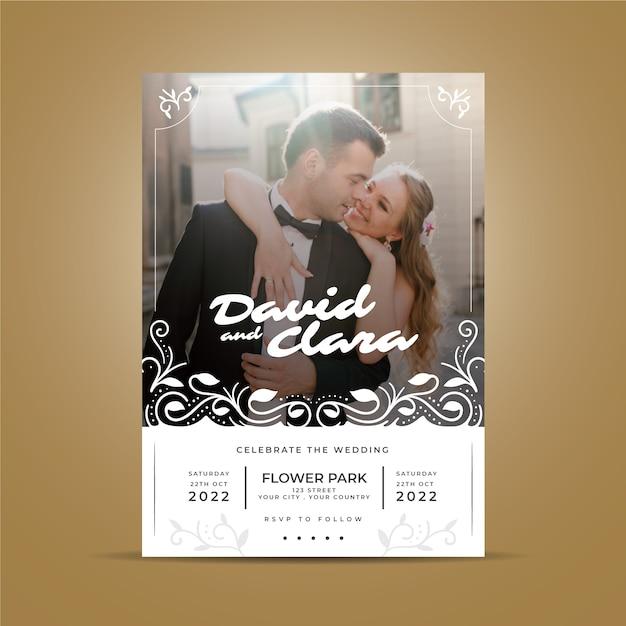 Estilo de convite de casamento com foto Vetor grátis