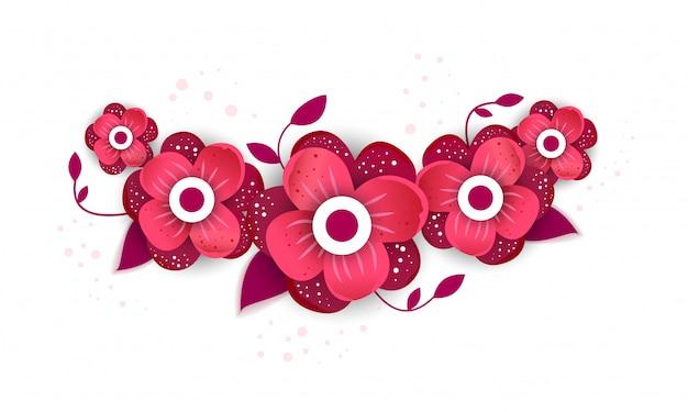Estilo de corte de papel de flor brilhante Vetor Premium