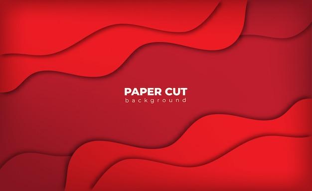 Estilo de corte de papel de fundo vermelho com espaço de texto Vetor Premium