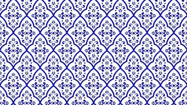 Estilo de damasco padrão decorativo sem costura porcelana Vetor Premium