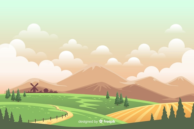 Estilo De Desenho Animado Colorido Paisagem Rural Vetor Gratis