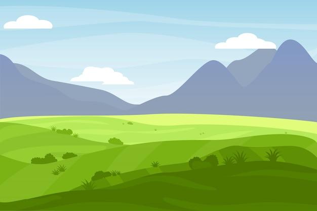 Estilo de desenho animado natureza paisagem Vetor Premium
