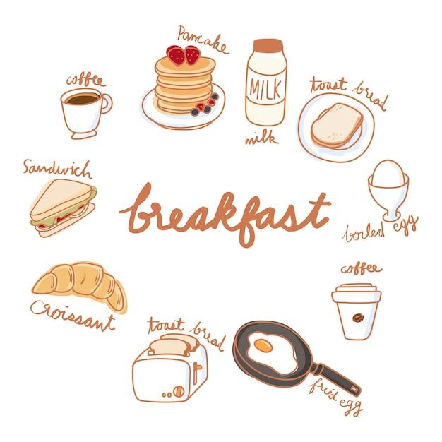 Estilo de desenho de ilustração da coleção de comida Vetor grátis