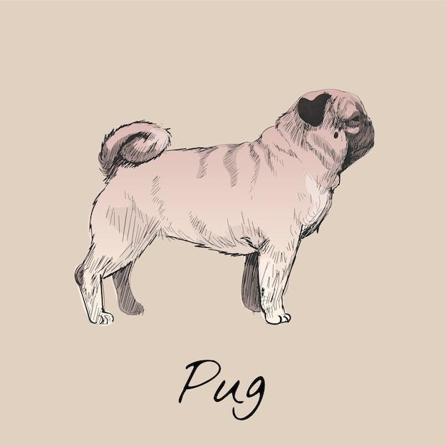 Estilo de desenho de ilustração de cachorro Vetor grátis