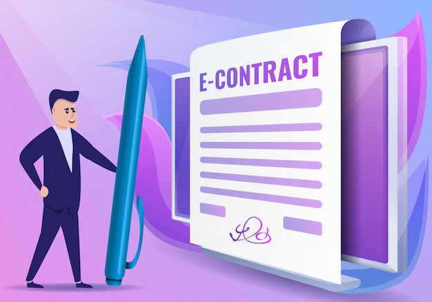 Estilo de desenho de ilustração de conceito de contrato digital Vetor Premium