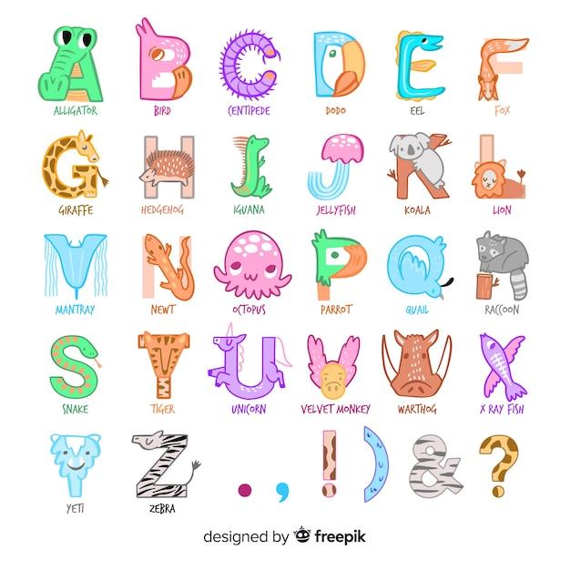 Estilo de desenho ilustração com alfabeto animal Vetor grátis