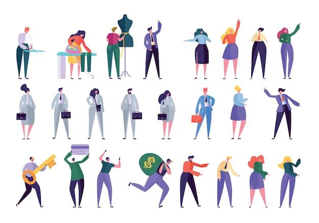 Estilo de design de conjunto de caracteres diferente. pessoas em vários estilos de vida mulher de negócios, gerente, estilista, costureira, ladrão. ilustração vetorial plana de pessoas com roupas de trabalho Vetor Premium