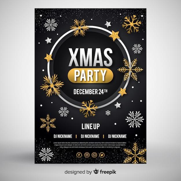 Estilo de design plano de modelo de panfleto de festa de natal Vetor grátis