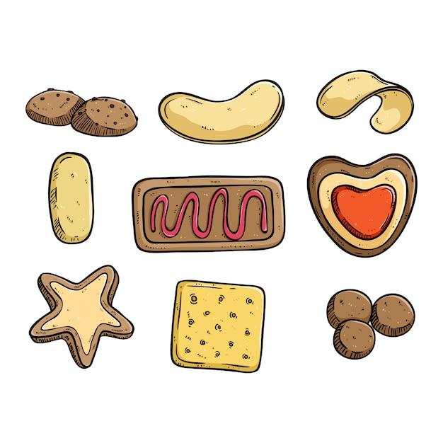 Estilo de doodle colorido de coleção de biscoitos ou biscoitos Vetor Premium