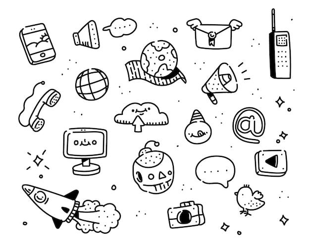 Estilo de doodle de internet. estilo de desenho de imaginação Vetor Premium
