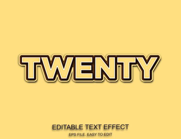 Estilo de efeito de texto com vinte números Vetor Premium