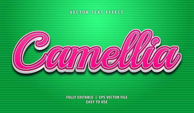 Estilo de efeito de texto editável de camélia Vetor Premium