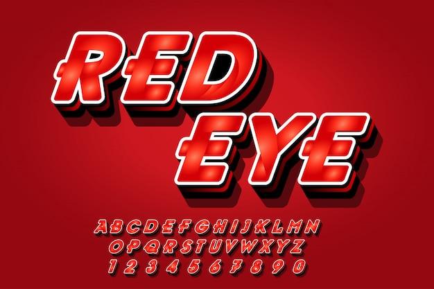 Estilo de efeitos de fonte vermelho em 3d Vetor Premium