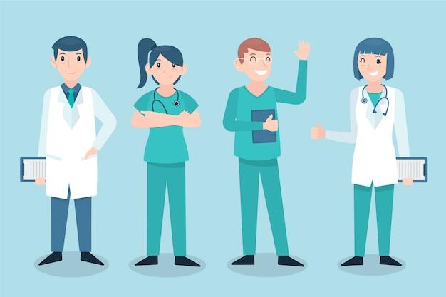 Estilo de equipe profissional de saúde Vetor grátis