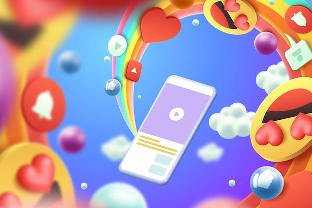 Estilo de fundo colorido emojis 3d Vetor grátis