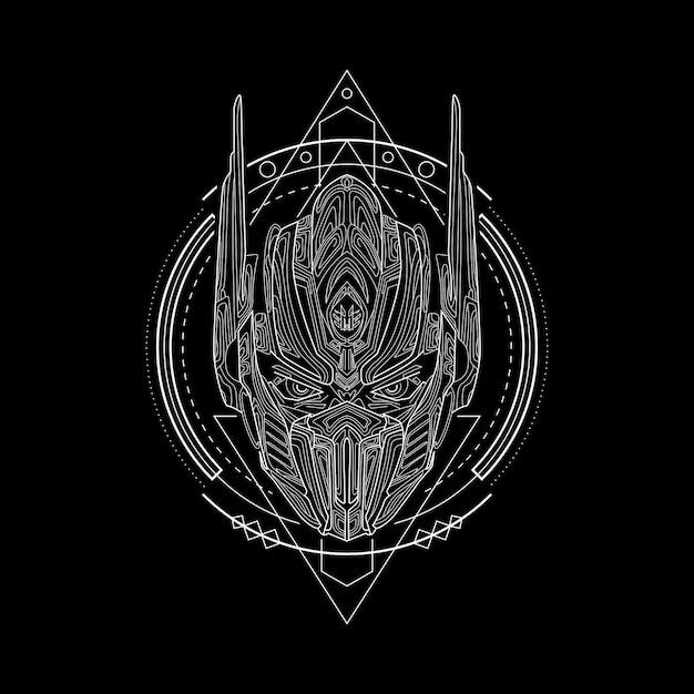 Estilo de geometria de cavaleiro de ferro Vetor Premium