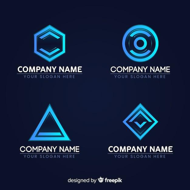 Estilo de gradiente de coleção de logotipo de tecnologia Vetor grátis