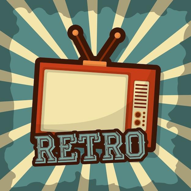 Estilo de grunge de meio-tom retro vintage dispositivo de televisão Vetor Premium