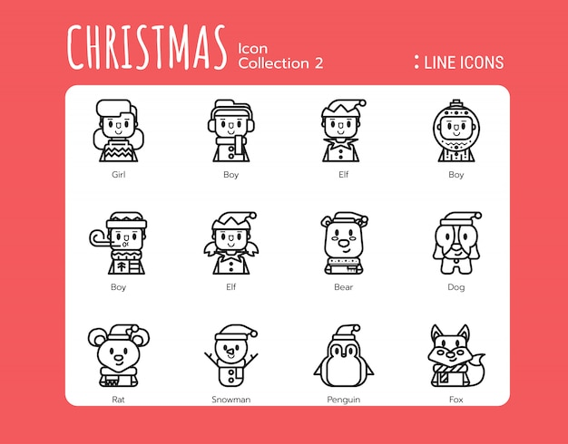 Estilo de ícones de linha cheia. avatar de natal Vetor Premium