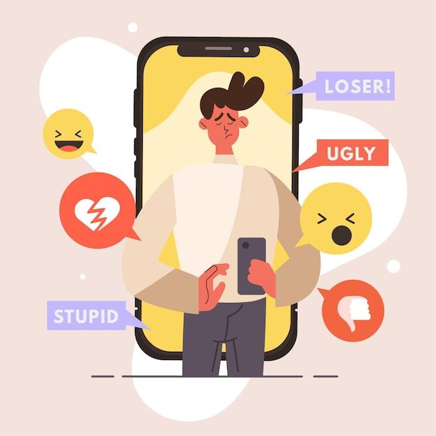 Estilo de ilustração de cyber bullying Vetor grátis