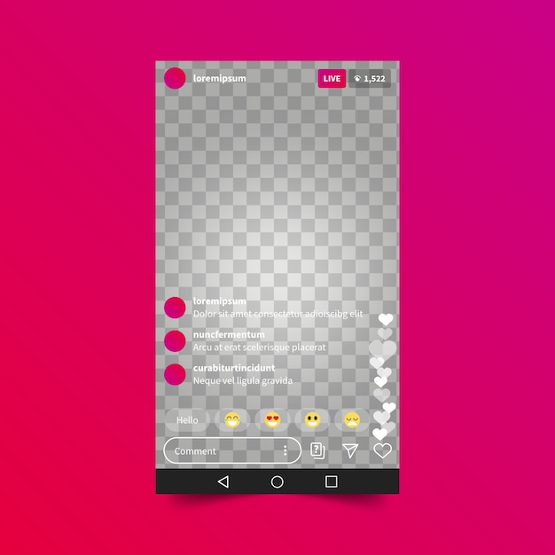 Estilo de interface do instagram de transmissão ao vivo Vetor grátis