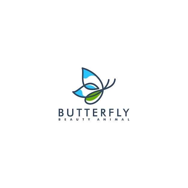 Estilo de linha de design de logotipo de borboleta, ilustração em vetor de animais de beleza Vetor Premium