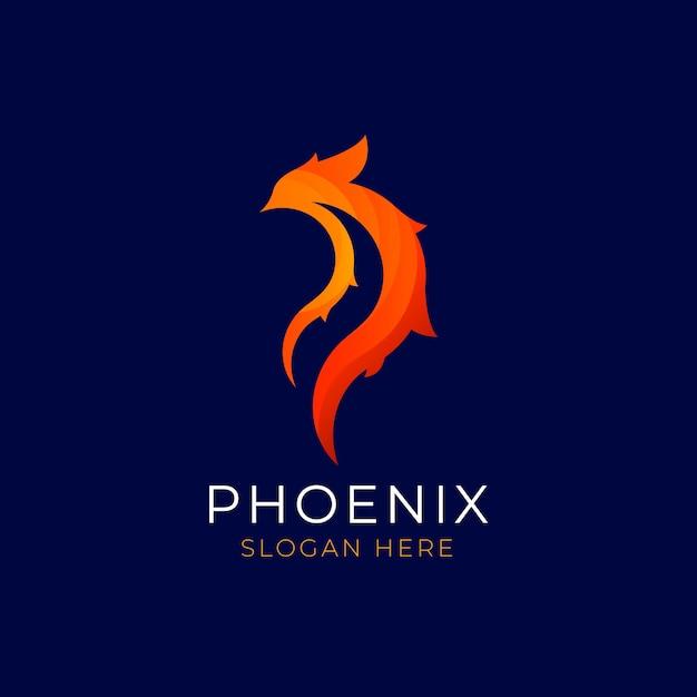 Estilo de logotipo de pássaro phoenix Vetor Premium