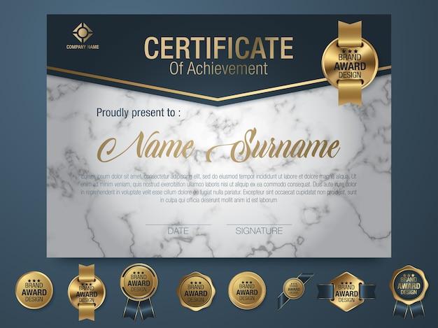 Estilo de luxo e diploma de modelo de certificado Vetor Premium