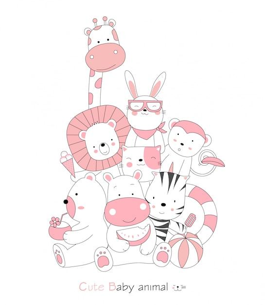 Estilo de mão desenhada cartoon sketch a postura bonito bebê animais Vetor Premium