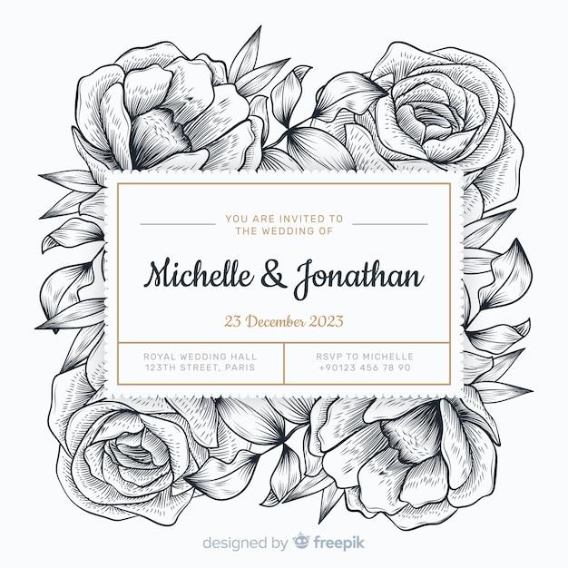 Estilo de mão desenhada convite de casamento Vetor grátis