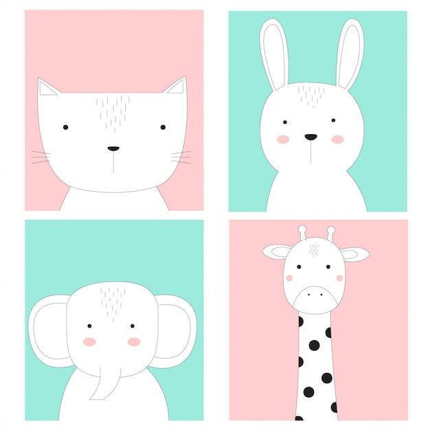 Estilo de mão desenhada de animais bebê fofo cartão Vetor Premium