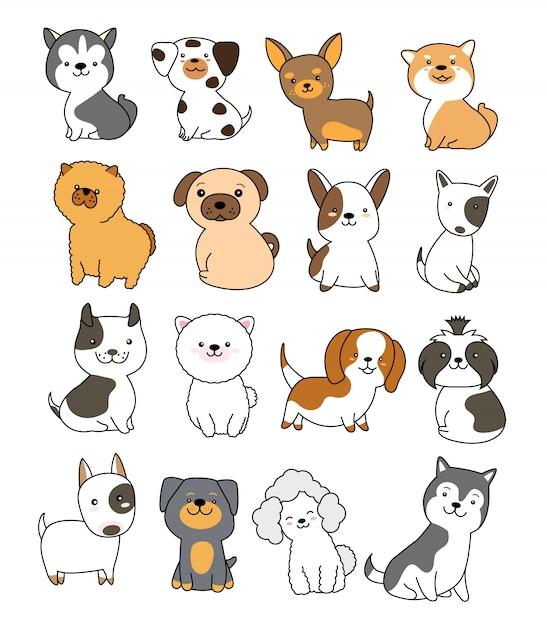 Estilo de mão desenhada de coleção de cão fofo Vetor Premium