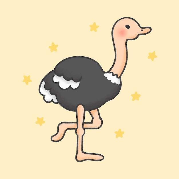 Estilo de mão desenhada de desenhos animados de avestruz Vetor Premium