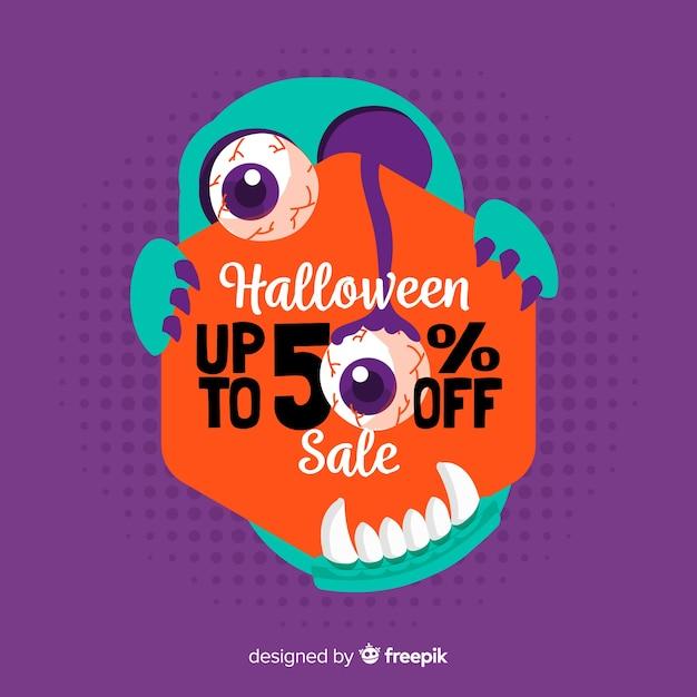 Estilo de mão desenhada de fundo de vendas de halloween Vetor grátis