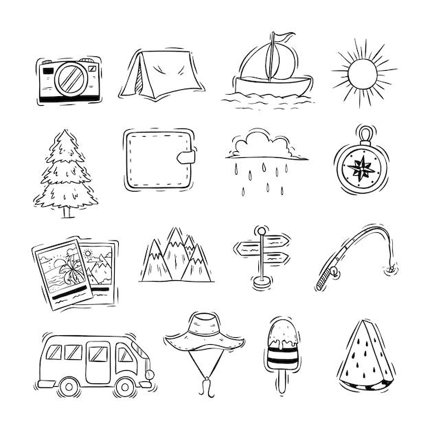 Estilo de mão desenhada de ícones de giro viagens ou elementos Vetor Premium