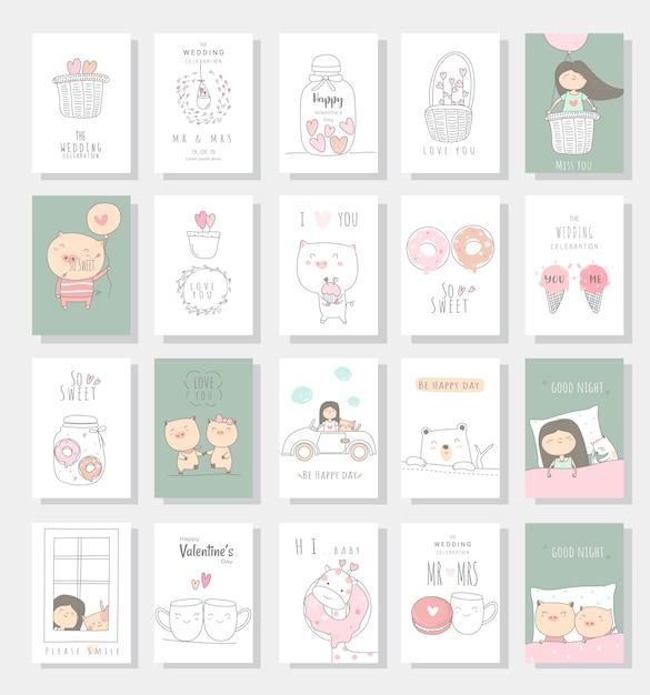 Estilo de mão desenhada do bebê animal cartão bonito dos desenhos animados Vetor Premium
