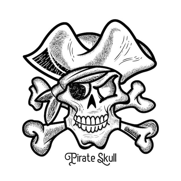 Estilo de mão desenhada vintage pirata caveira Vetor Premium