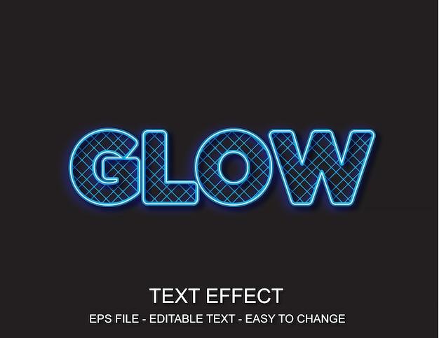 Estilo de padrão de néon de efeito de texto editável Vetor Premium