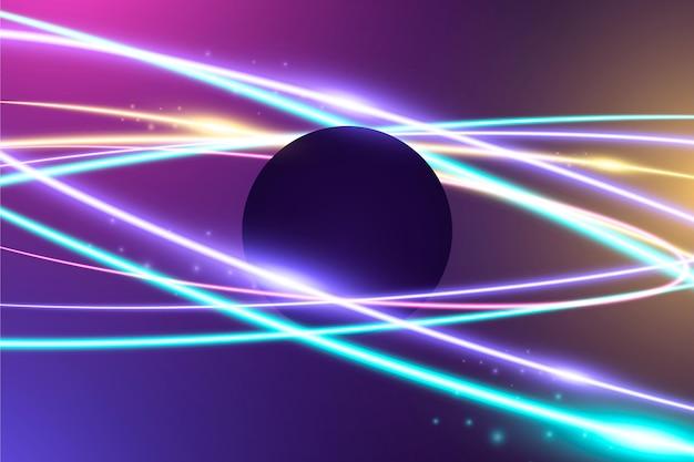 Estilo de papel de parede abstrato com luzes de néon Vetor grátis