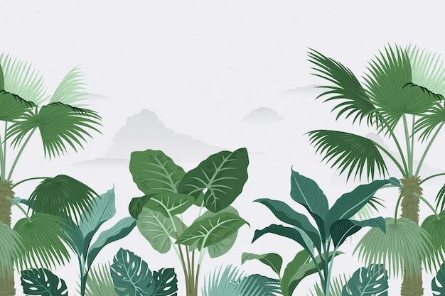 Estilo de papel de parede mural tropical Vetor Premium