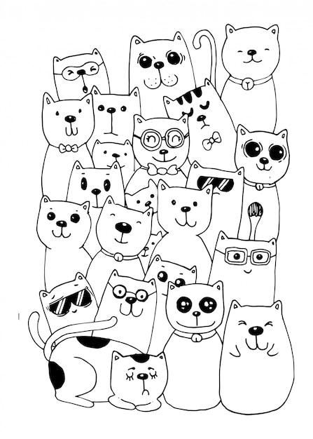 Estilo De Personagens De Gato Doodles Ilustracao Para Colorir Para