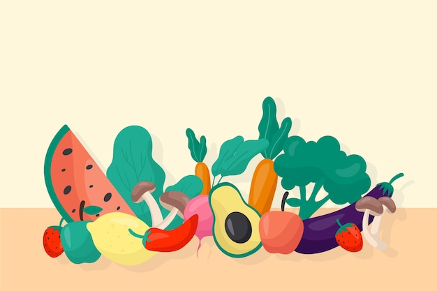Estilo de plano de fundo frutas e legumes Vetor grátis