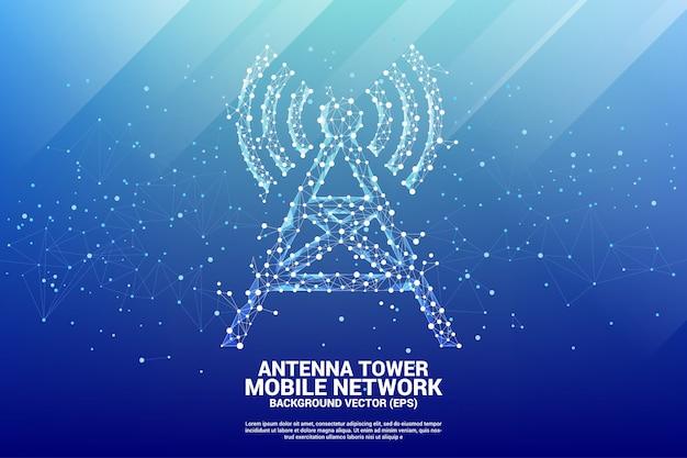 Estilo de polígono de ícone de torre de antena de ponto e linha de conexão. Vetor Premium