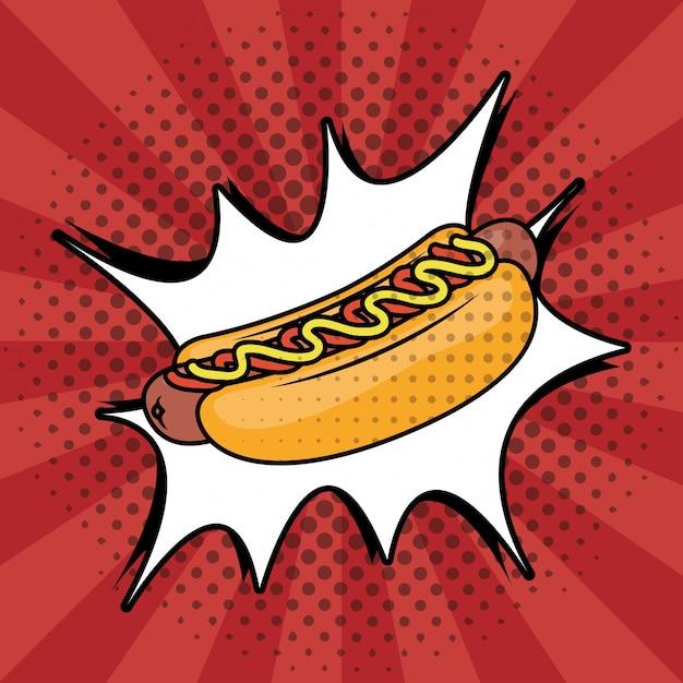 Estilo de pop art de cachorro-quente fast-food Vetor grátis