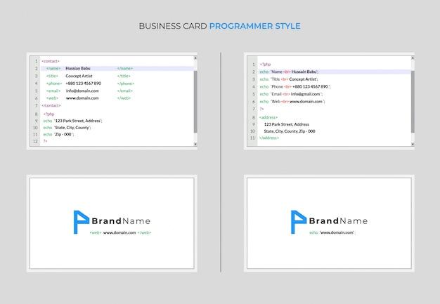 Estilo de programador de cartão de visita Vetor Premium