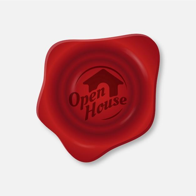 Estilo de rótulo vermelho de casa aberta Vetor grátis