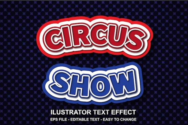 Estilo de show de circo de efeito de texto editável Vetor Premium