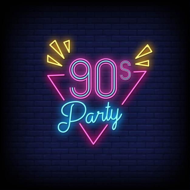 Estilo de sinais de néon de festa dos anos 90 Vetor Premium